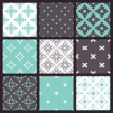 Set of nine vector seamless geometrical patterns Stock Photos