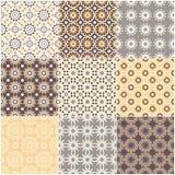 Set of nine vector seamless geometrical patterns. stock illustration