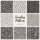 Set of Nine Vector Seamless Lines Patterns Collection Stock Photo