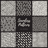 Set of Nine Vector Seamless Lines Patterns Collection Stock Photos