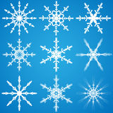 Set of nine vector snowflakes Royalty Free Stock Photo