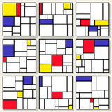 Set Of Nine Vector Square Compositions in Piet Mondrian De Stijl Style. Painting Design Royalty Free Stock Photography
