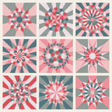 Set of Nine Vector Symmetrical Mandala Ornament Pattern Royalty Free Stock Images