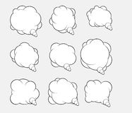 Set of nine vector talking bubbles with white fills and gray bac Royalty Free Stock Photography