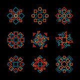 Set of Nine Vector Teal Orange Line Art Geometric Pattern Elements Stock Photo
