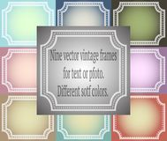 Set of nine vector vintage frames. Different soft colors. EPS stock illustration