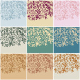 Set of nine vintage floral backgrounds Royalty Free Stock Image