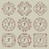 Set of nine vintage monograms. royalty free stock photography