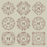 Set of nine vintage monograms. stock photography