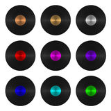 A set of nine vinyl records isolated Royalty Free Stock Photography