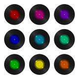 A set of nine vinyl records isolated Stock Photos