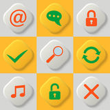 Set of nine web icons. Lock. Unlock. Approve. Cancell. Search. Update and synchronization. Multimedia. Mailbox. Vector element of graphic design royalty free illustration