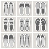 Set of nine woman shoes icons Stock Image