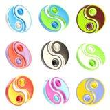Set of nine Yin-Yang signs isolated on white Stock Photo