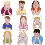 Set of nine young children.  Royalty Free Stock Images