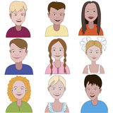 Set of nine young children. Set of nine young smiling children Royalty Free Stock Image