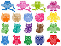 Set of nineteen ornamental owls Stock Photos