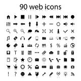 Set of ninety black web icons Royalty Free Stock Photo