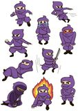 A set of ninja. A set of cute cartoon ninja characters in different motions Stock Photo