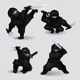 Set of ninja assassins Stock Images