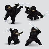 Set ninja Meuchelmörder lizenzfreie abbildung