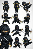Set of 11 Ninja poses in a black suit. Set of 11 Ninja fighting postures in a black suit with arms and without Stock Photo