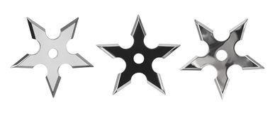 Set of ninja star shurikens. Isolated on white background stock images