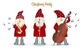 Set nisse musician Santa Claus, Christmas motive in red coat stock illustration