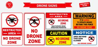 Set of no drone zone sign. Easy to modify - . easy to modify royalty free illustration