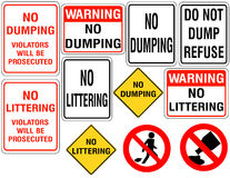 Set of No Dumping or Littering Signs Royalty Free Stock Photo