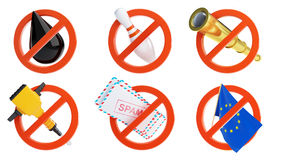 Set no on a white background. Et no on a white background 3D illustration Royalty Free Stock Photography