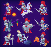 Set of noble knights. In tricky situations. EPS10 Royalty Free Stock Image