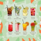 Set of non-alcoholic summer drinks. Classic and Strawberry Lemonade, Iced Tea, Mojito, Watermelon and Orange fresh. Watermelon-kiwi and Strawberry-Peach vector illustration