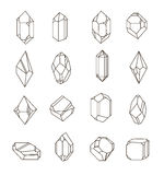 Set of non-linear crystals. Minerals from landfills for fabric, poster, t-shirts Royalty Free Stock Photo
