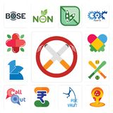 Set of non smoking, pizza place, pole vault, indian rupee, callout, fantasy baseball, 111, autism, farmacy icons. Set Of 13 simple  icons such as non smoking Royalty Free Stock Images
