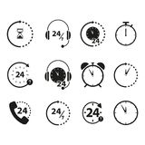 Set of Non stop 24 time icons. Online on the white background Stock Photo