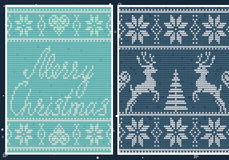 Set of nordic patterns. Christmas sweater design Stock Photography