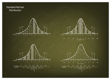 Set of Normal Distribution Diagram on Chalkboard Background. Business and Marketing Concepts, Illustration of Gaussian Bell Curve Chart or Normal Distribution Royalty Free Stock Images