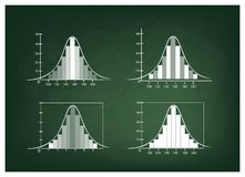 Set of Normal Distribution or Gaussian Bell Curve on Chalkboard Stock Images