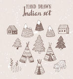 Set of North American Indian tipi homes with tribal ornament hand drawn with ink, elements of forest and mountains, bear and field Stock Photo