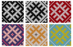 Set of North knitting seamless patterns Royalty Free Stock Images
