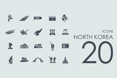 Set of North Korea icons Royalty Free Stock Photos