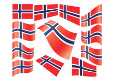 Set of Norwegian flags Stock Photo