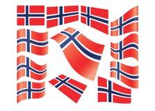 Set of Norwegian flags Stock Photo