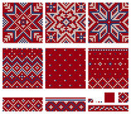 Set of Norwegian Star knitting patterns. Seamless patterns Royalty Free Stock Images