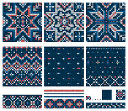 Set of Norwegian Star knitting patterns. Seamless patterns Royalty Free Stock Photos