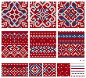 Set of Norwegian Star knitting patterns. Seamless patterns Royalty Free Stock Image