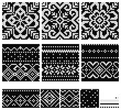 Set of Norwegian Star knitting patterns. Seamless patterns Royalty Free Stock Photography