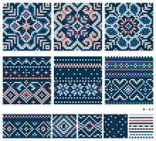 Set of Norwegian Star knitting patterns. Seamless patterns Stock Photography