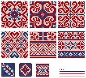Set of Norwegian Star knitting patterns. Seamless patterns Royalty Free Stock Photo